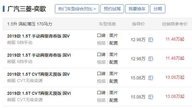 广汽三菱奕歌国六标准 广汽三菱奕歌2019款国6版11.48万起售