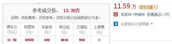 本田xrv2019款多少钱 2019款本田XR-V最低报价仅11.59万