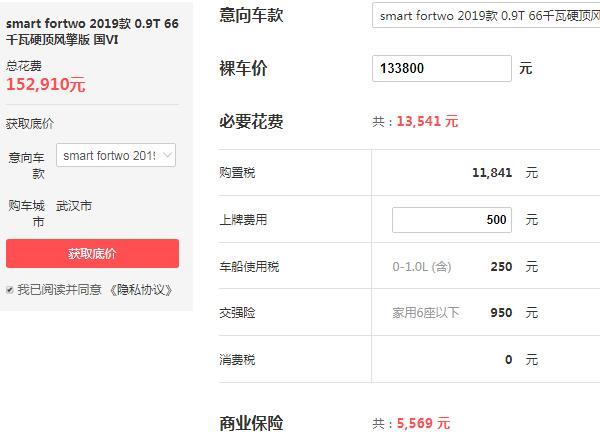 奔驰迷你smart报价 奔驰smart售价最低是13.38万元(落地:15.29万)
