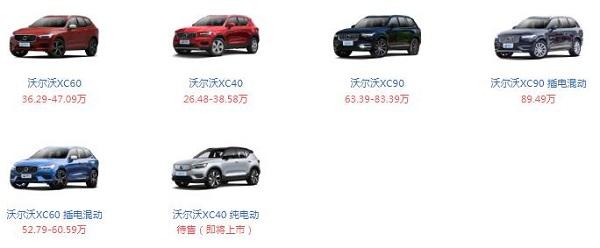 沃尔沃suv全部车型 沃尔沃suv在售车型价格