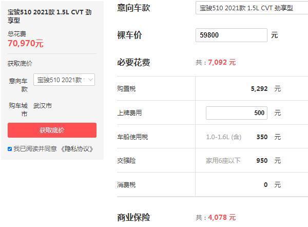 宝骏510自动挡全款落地价 仅需7万左右