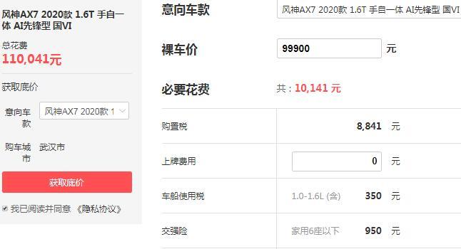 ax7东风风神2020报价 售价9.99万百公里油耗为7L