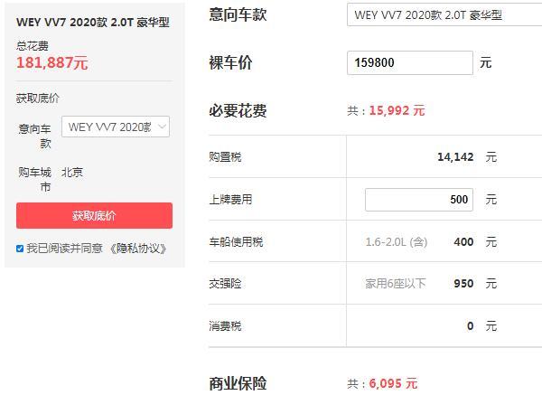 长城vv7多少钱 中型SUV长城vv7仅售15万(采用2.0T发动机)
