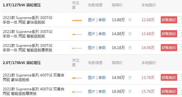 荣威rx5max价格1.5t自动 自动挡价格1.5t(自动挡仅售12万)