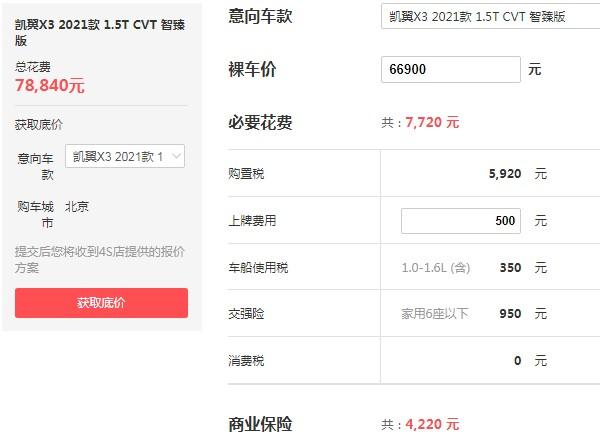 凯翼x3自动挡的价格 凯翼x3自动挡多少钱(自动挡仅售6万)